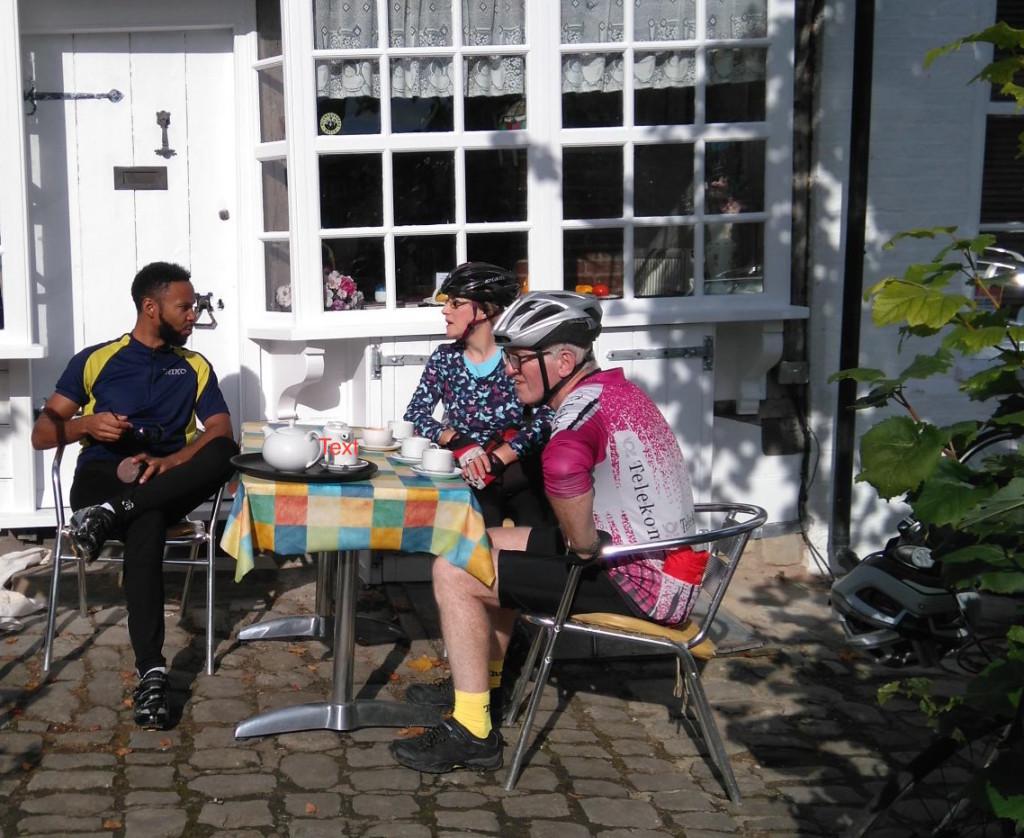 Chatting outside Pippa's Tea Room, Lenham, in the warm autumn sun